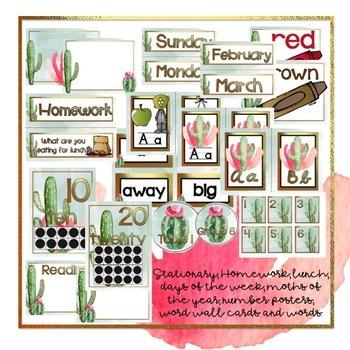 Cactus Classroom Decor Editable By Bethany Ray Tpt