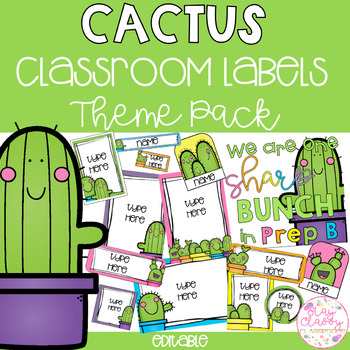 Cactus Classroom Theme Pack - Editable Name Tags, Labels and Posters