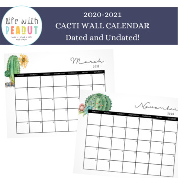 Cactus Classroom Wall Calendar, Cactus Classroom Decor