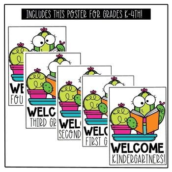 Cactus Classroom Welcome Signs (Grades K-4)