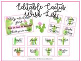 Watercolor Cactus Classroom Wish List | Editable