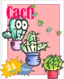 Cactus, Clipart, Images, Water color, hand-drawn