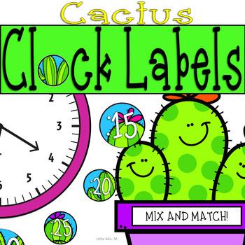 Cactus Clock Labels: Succulent and Cactus Classroom Theme Decor