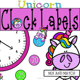 Unicorn Magic Clock Labels: Unicorn Classroom Decor