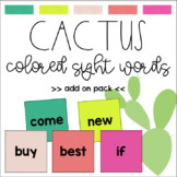 Cactus Colored Sight Words (editable)