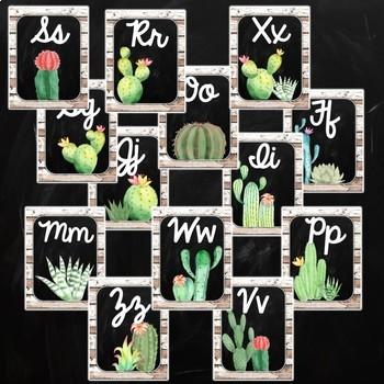Cactus Cursive Alphabet Posters