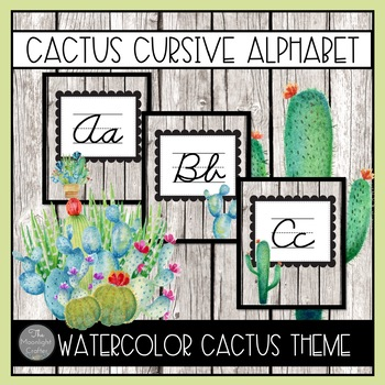 Cactus Cursive Alphabet with EDITABLE COMPONENTS