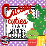 Cactus Cuties 2D and 3D Shapes Posters