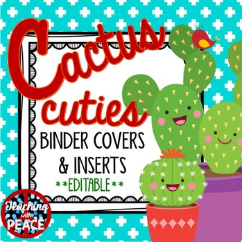 Cactus Cuties Binder Covers and Inserts  *editable*