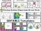 Cactus Cuties Classroom Decor Pack with Editable Templates