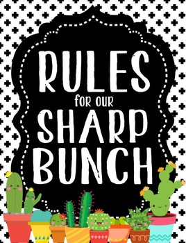 Cactus Cuties Classroom Rules Posters **editable**