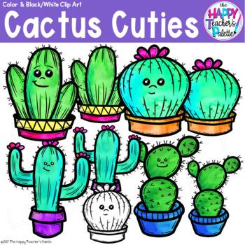 Cactus Cuties Clip Art Watercolor {The Happy Teacher's Palette Clip Art}