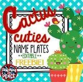 Cactus Cuties Freebie Name Plates *editable*