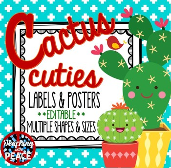 Cactus Cuties Labels, Signs and Posters **editable**
