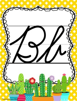 Cactus Cuties Theme Cursive ABC Posters *D'Nealian and Zaner-Bloser Style*