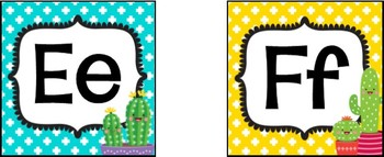 Cactus Cuties Word Wall Headers and Pennants **editable**