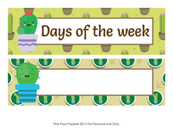 Cactus Days of the Week Calendar Headers