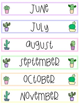 Cactus Days of the Week & Months of the Year