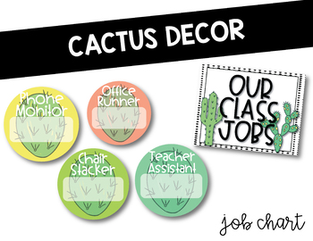 Cactus Decor Theme: Editable Job Chart