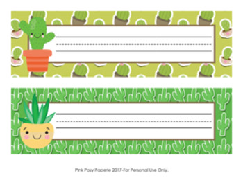 Cactus Desk Name Plates Classroom Decor