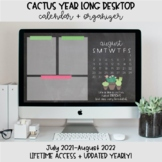 Cactus Desktop Organization Wallpaper + Calendar