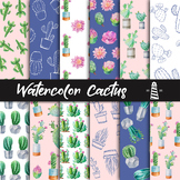 Cactus Digital Paper, Watercolor Cactus Patterns, Cactus A