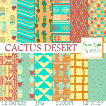 Cactus Digital Papers / Cactus Backgrounds / Southwest Papers / Glitter Cactus