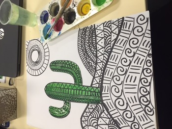 Cactus Drawing and Water Colour Artwork
