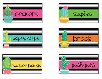 Cactus EDITABLE Teacher Toolbox Labels-Classroom Theme Decor