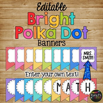 Editable Banners BRIGHT POLKA DOTS Rainbow