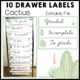 Cactus Editable Labels for the 10 Drawer Cart