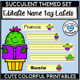 Cactus Editable Name Tags for Desk Succulent Class Decor