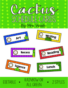 Cactus *Editable* Schedule Cards