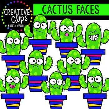 Cactus Faces Clipart {Cactus Clipart}