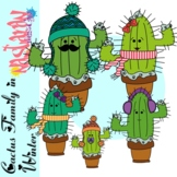 Cactus Family In Winter Clipart