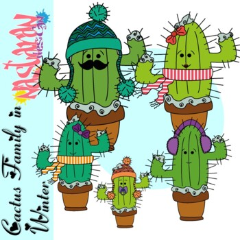 Cactus Clipart -Cactus Family In Winter Clipart by Nastaran