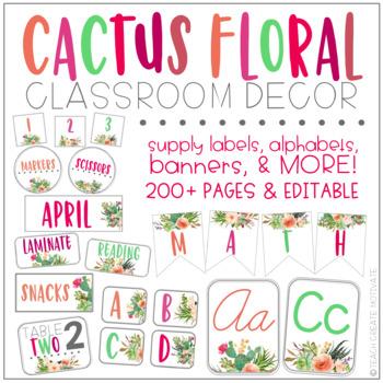 Cactus Floral Classroom Decor {Editable!}