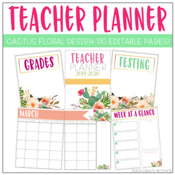 cactus floral teacher binder editable by teach create motivate