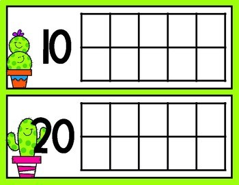 Cactus Friends Tens Frames for Counting Days in School