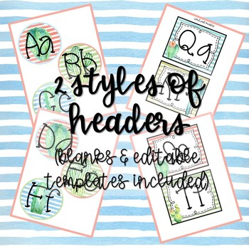 Cactus Garden Word Wall Headers And Nameplates