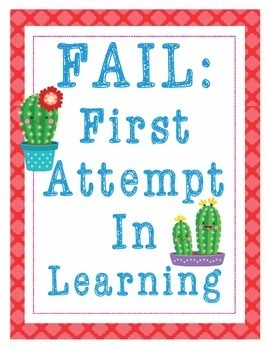 """Cactus Growth Mindset Posters - 8.5""""x11"""", 18""""x24"""" - Ready for Printing"""