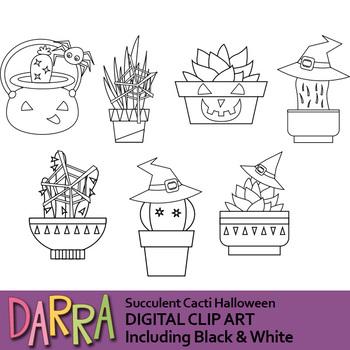Cactus Halloween clip art, Succulent Cacti Halloween clipart