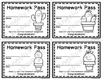Cactus Homework Pass - Incentive Reward Coupon  -  Cactus Theme