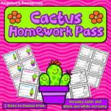 Cactus Homework Pass: Classroom Management Incentive Rewards