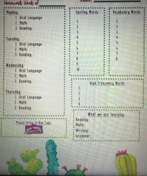 Cactus Homework Template