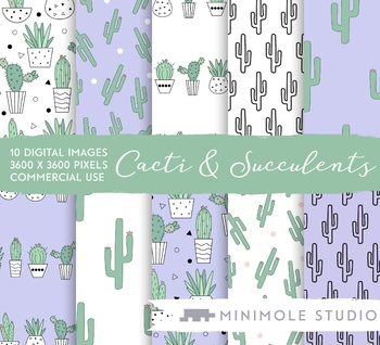 Cactus Houseplant Pattern Digital Paper, Commercial Use