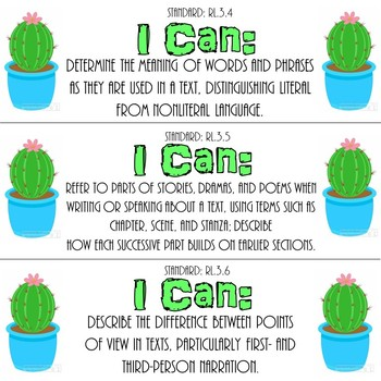 "3rd Grade ELA ""I Can"" Statements (Cactus Theme)"