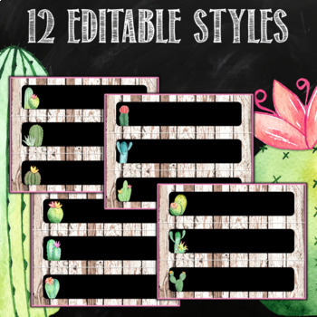 Cactus themed Labels with pictures Editable