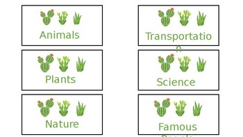 Cactus Library Labels ***editable***