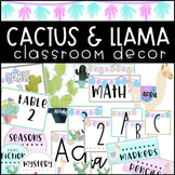 Cactus Llama Classroom Decor EDITABLE